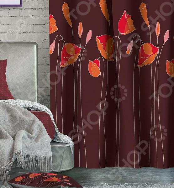 Штора блэкаут Волшебная ночь Floral занавес для окон, который сможет преобразить интерьер и оживить атмосферу. Это яркая, модная и очень стильная штора из блэкаута плотной, прочной и удивительно износостойкой ткани. Полностью светонепроницаемая, поэтому вы сможете легко регулировать степень освещенности в комнате. За счет особого плетения формирует мягкие складки без заломов, легко драпируется и прекрасно держит форму. Это приятный на ощупь материал прост в уходе, устойчив к загрязнениям и хорошо сохраняет тепло. При этом совершенно не требует глажки.  Особенности штор:  Особый вид светонепроницаемой ткани.  Не выцветает, прекрасно драпируется, сохраняя форму.  Отличается высокой плотностью полотна и хорошей износостойкостью.  Обладает высокими тепло- и звукоизоляционными свойствами.  Клеевая лента в комплекте позволит отрегулировать штору до нужной длины. Для окраски использовались специальные чернила, позволяющие прямую печать на ткани. Краска прошла все необходимые проверки и имеет сертификат качества. Купить штору блэкаут способ изящно преобразить дизайн домашнего интерьера. Шторы рекомендуется стирать при 30 С. Не следует использовать отбеливающие средства.