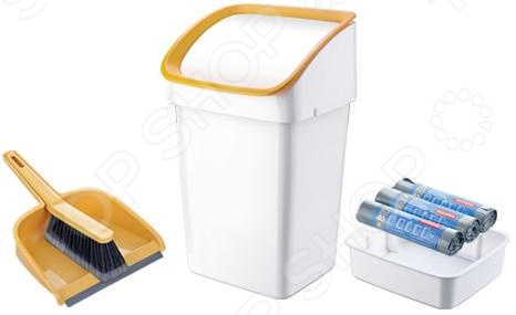 Ведро мусорное со щеткой, совком и мешками Tescoma Clean Kit. В ассортименте