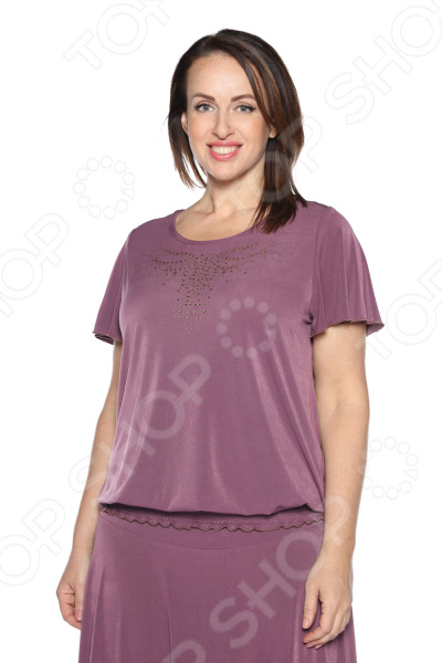 Блуза «Ослепительная» с  мерцающим декором. Цвет: сливовый