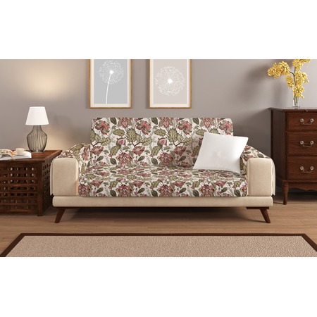 Купить Универсальная накидка «Уютный дом» на двухместный диван. Цвет: бежевый