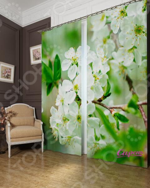 Фотошторы блэкаут Сирень «Яблоня в цвету»