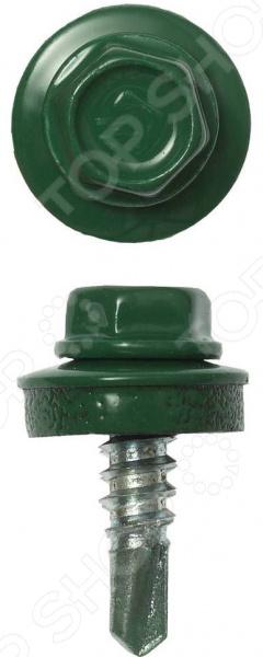 Набор саморезов кровельных Зубр СКМ для металлических конструкций. Цвет: зеленый