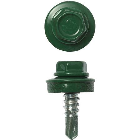 Купить Набор саморезов кровельных Зубр СКМ для металлических конструкций. Цвет: зеленый