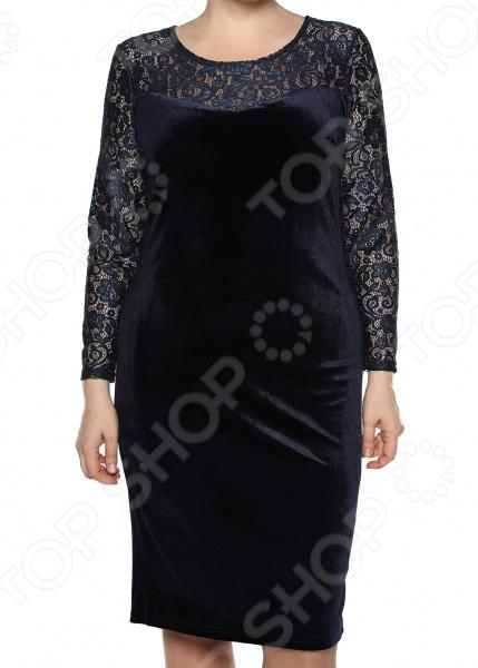 купить Платье Лауме-Лайн «Бархатный блюз». Цвет: темно-синий по цене 2549 рублей
