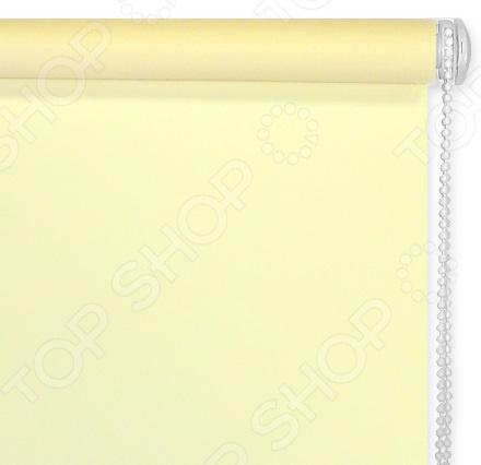 Рулонная штора Эскар однотонная. Цвет: светло-желтый