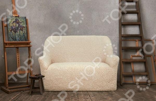 Натяжной чехол на трехместный диван Еврочехол «Микрофибра. Ваниль» 1