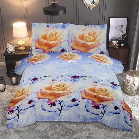 Купить Комплект постельного белья «Цветочные сны». Цвет: голубой