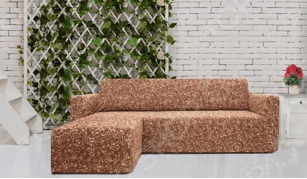 Натяжной чехол на угловой диван с выступом слева Еврочехол «Виста. Инка» 1
