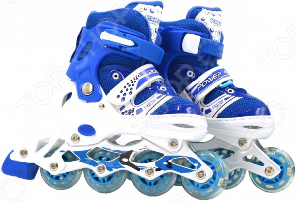 Роликовые коньки детские раздвижные Navigator Power со светящимися колесами ПВХ. Цвет: синий