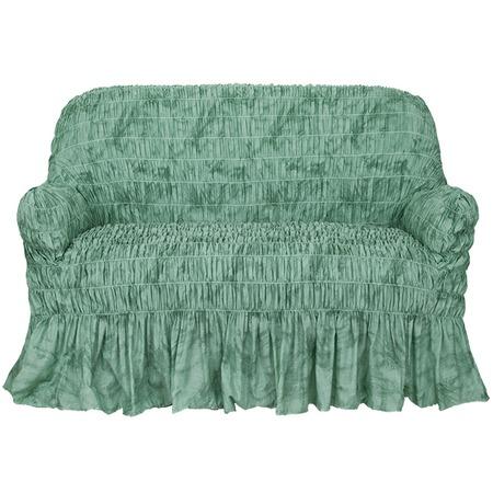 Купить Натяжной чехол на двухместный диван Еврочехол «Фантазия. Зеленый»