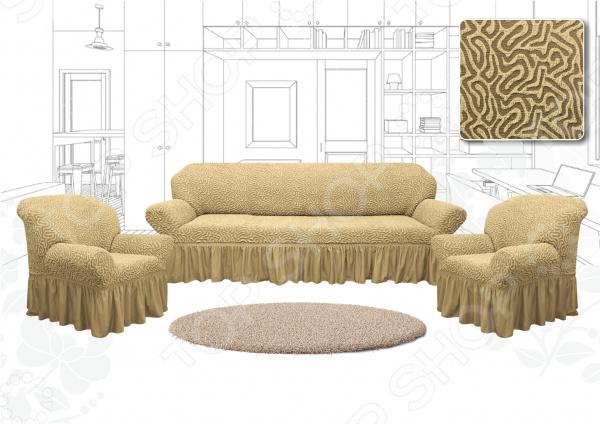 Натяжной чехол на трехместный диван и чехлы на 2 кресла Karbeltex «Престиж. Зигзаг»