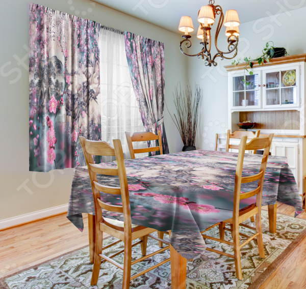 фото Набор для кухни: шторы, тюль и скатерть «Цветочная туманность», Фотошторы с цветами/пейзажами