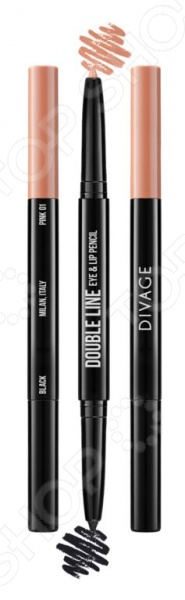 Карандаш автоматический для глаз и губ DIVAGE Double Line Eye  Lip Pencil Double Line Eye  Lip Pencil
