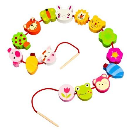 Купить Игра развивающая для малыша Mapacha «Шнуровка - бусы. Звери»