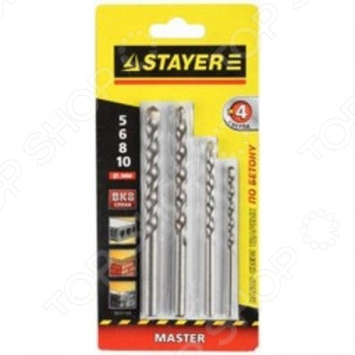 Набор сверл по бетону и камню Stayer Master 29111-H4 набор сверл по металлу stayer master 2961 h8 z01