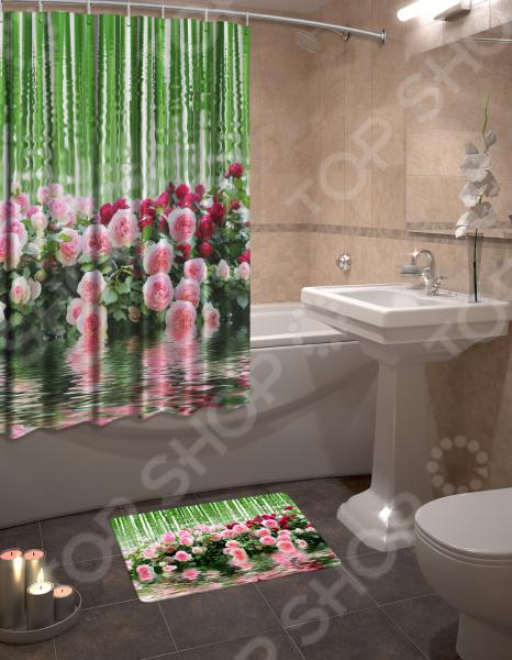 Набор для ванной комнаты: шторка и коврик ТамиТекс «Зеркальная гладь»