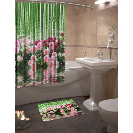 Купить Набор для ванной комнаты: шторка и коврик ТамиТекс «Зеркальная гладь»