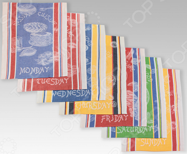 Комплект из 7-ми кухонных полотенец Василиса «Неделька: Кухни Мира» полотенца кухонные римейн полотенце неделька
