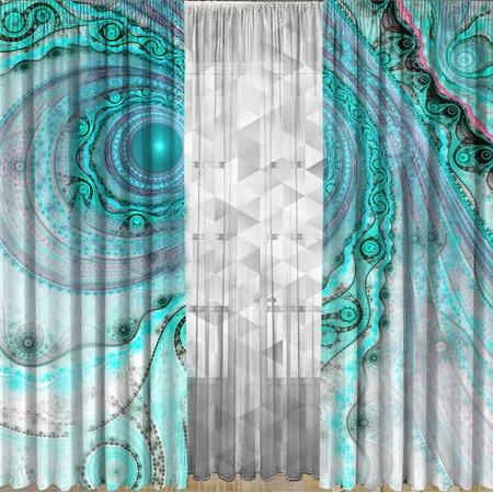 Комплект фотоштор с тюлем ТамиТекс «Малахитовый принт»