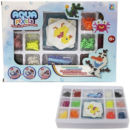 Купить Мозаика с аппликацией 1 Toy Aqua pixels Т11390