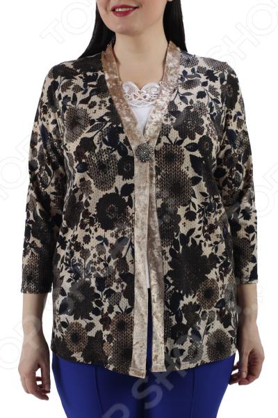 Блуза ТРЕНД «Желанный подарок». Цвет: бежевый цена 2017