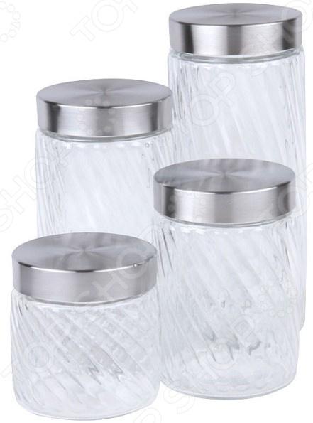 Набор банок для сыпучих продуктов Rosenberg RGL-220014-4 чайник заварочный rosenberg rgl 250019 1 1l