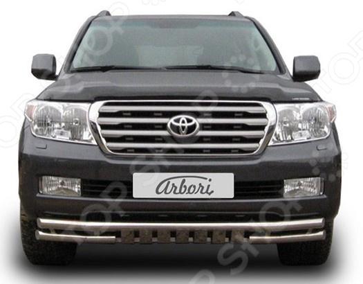 Защита переднего бампера Arbori двойная с защитой картера для Toyota Land Cruiser 200, 2007-2012