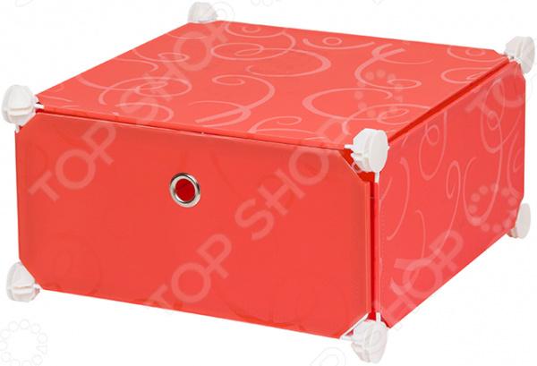 Полка складная модульная односекционная EL Casa «Красная с узором» полка складная д мод сист хран 39 47 39 см белая с узором 1 секция 1 дверка магниты 1205614