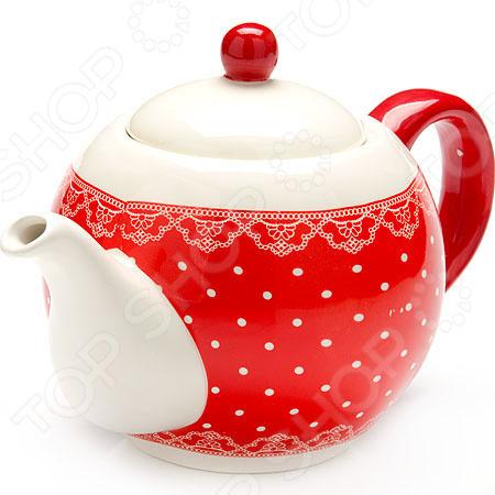 Чайник заварочный Loraine LR-25820 «Узор из горошка и кружева»