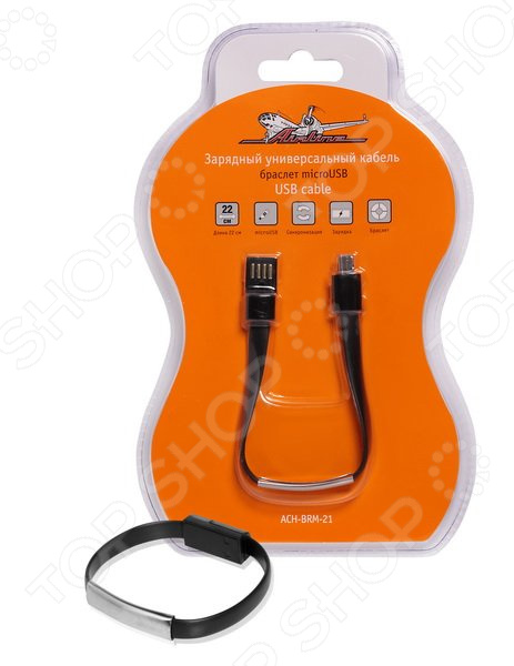 Кабель-браслет зарядный универсальный Airline microUSB ACH-BRM-21 кабель зарядки универсальный airline 4 в 1 miniusb microusb для iphone 4 5 6 ach 4 13