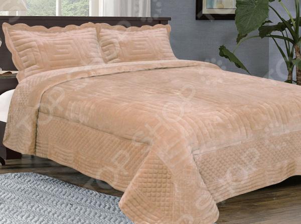 Комплект для спальни: покрывало и наволочки Buenas Noches Valencia Afini. Цвет: бежевый оправа valencia оправа valencia 32014 с6