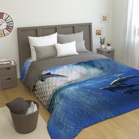 Купить Фотопокрывало стеганое Сирень «Дельфины»