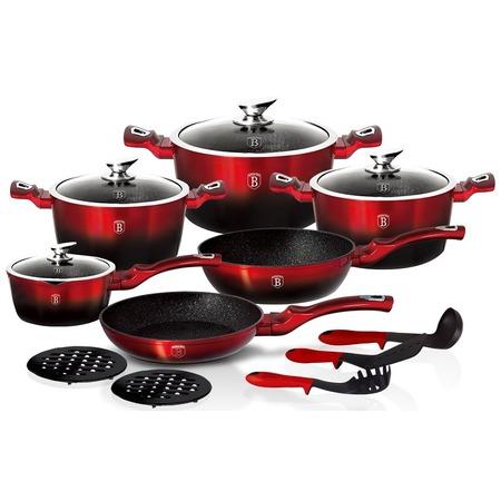 Купить Набор посуды для готовки Berlinger Haus Black-burgundy Metallic. Количество предметов: 15