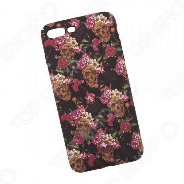 Чехол для iPhone 7 Plus/8 Plus KUtiS Skull BK-5 «Черепа и цветы» цена