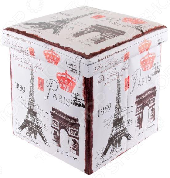 Пуф складной с ящиком для хранения EL Casa «Эйфелева башня» 35х35х35 см EL Casa - артикул: 972132