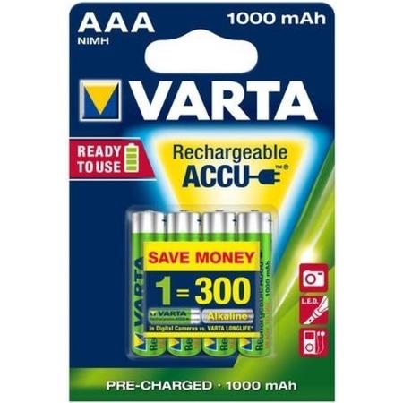 Купить Батарея аккумуляторная VARTA AAA R2U 1000 мАч 4 шт.