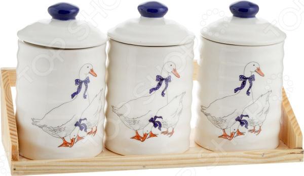 Набор банок для сыпучих продуктов Loraine «Гуси» 4705 набор банок для сыпучих продуктов loraine бабочки 6 предметов 25633