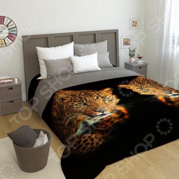 цена на Фотопокрывало стеганное Сирень «Два леопарда»