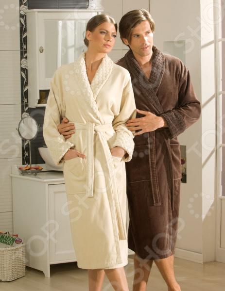 Халат махровый мужской Hobby Home Collection Angora. Цвет: коричневый. Размер одежды: XL