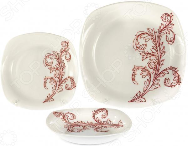 Набор столовой посуды OlAff «Красный стебель». Количество предметов: 18 набор столовой посуды olaff эстелла