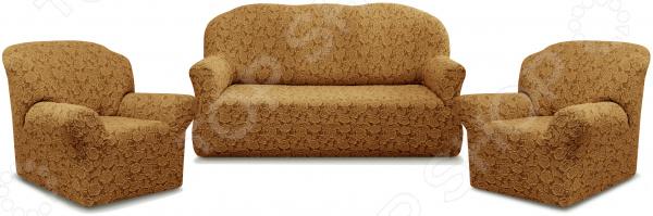 Натяжной чехол на трехместный диван и чехлы на 2 кресла Karbeltex «Престиж» 10096