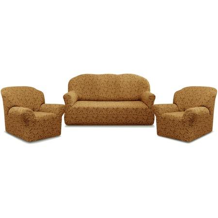 Купить Натяжной чехол на трехместный диван и чехлы на 2 кресла Karbeltex «Престиж» 10096