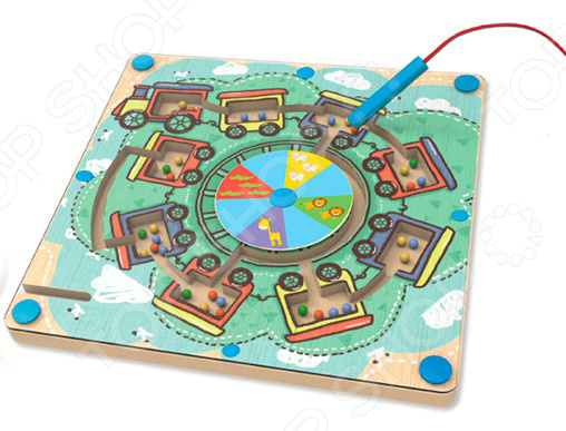 Игра настольная развивающая для детей Avenir «Деревянный лабиринт с магнитными шариками» деревянный лабиринт
