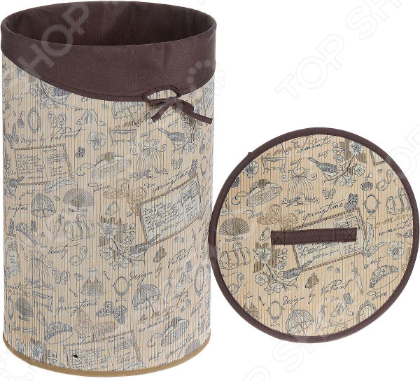 Корзина для белья круглая Valiant Romantic valiant корзина для белья с крышкой 35 35 60 см romantic valiant