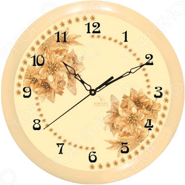 Часы настенные Вега П 1-14/7-52 «Бежевые Цветы»