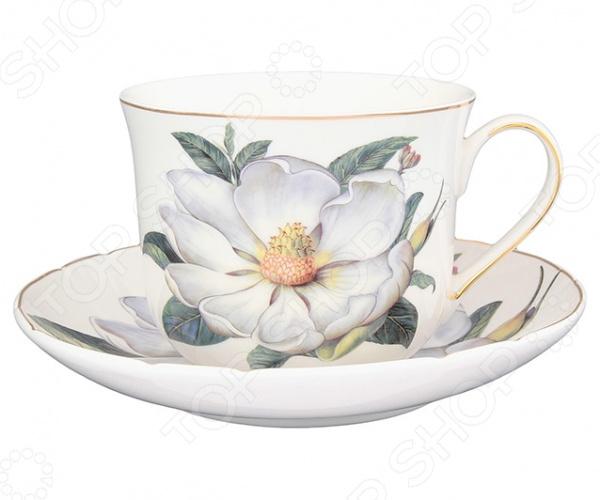 Чайная пара Elan Gallery «Белый шиповник»