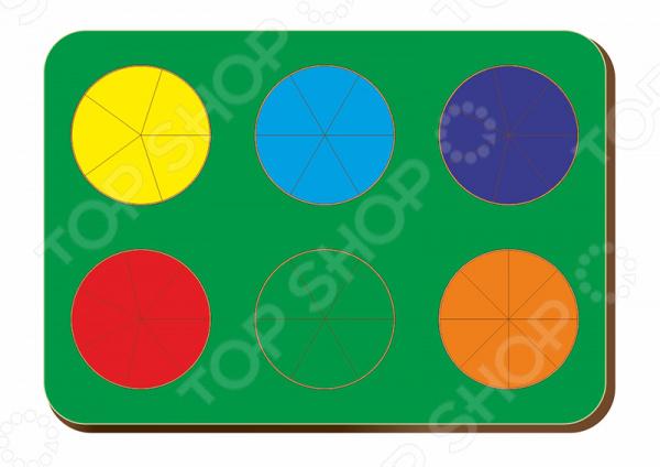 Игра развивающая WoodLand «Рамка-вкладыш: Дроби 6 кругов, уровень 2»