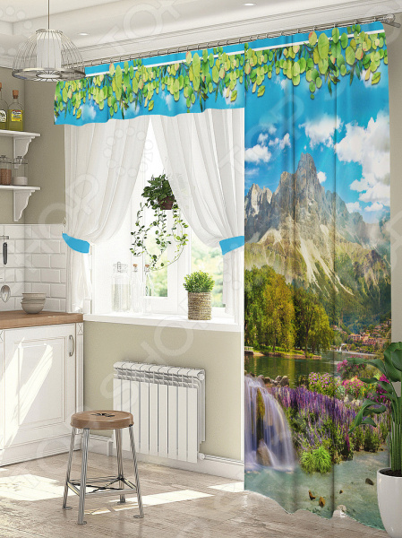 Комплект штор для окна с балконом ТамиТекс «Горный пейзаж»