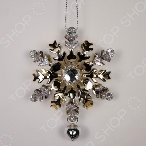Новогоднее украшение Crystal Deco «Снежинка с камнем»