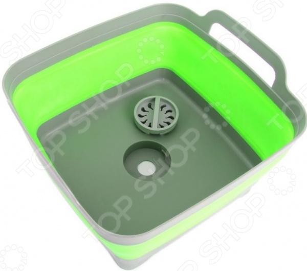 Мойка-корзина складная Bradex «Дачный сезон» с ручками. Цвет: зеленый, серый